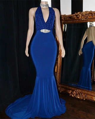 Sexy Halter Sleeveless Mermaid Prom Dresses   2019 V-Neck Appliques Crystal Evening Gowns_2