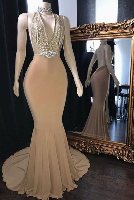 Champagne Crystal Halter Mermaid Long Prom Dresses | Sexy V-Neck Sleeveless Evening Gowns_1