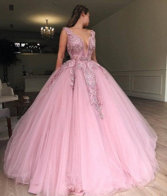 Pink Ball Gowm V-Neck Applique  Sleeveless Long Prom Dersses_2