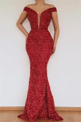 Burgundy Glamorous Mermaid Off The Shoulder Lace Appliques Long Prom Dress With Detachable Skirt_2