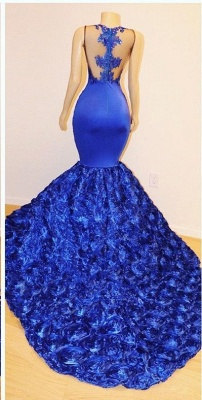 2019 Royal-Blue Flowers Mermaid Long Evening Gowns | Glamorous Sleeveless With lace Appliques Prom Dresses_3