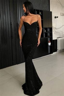 Sheath Spaghetti Straps Open Back Sequins Black Long Prom Dress_1