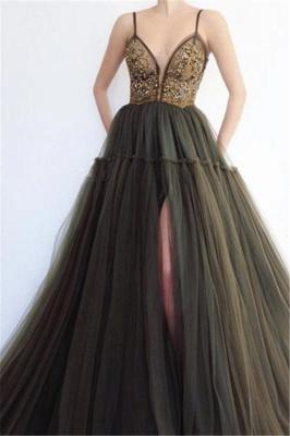 Elegant Side Slit Spaghetti Straps  Long Prom Dress_1