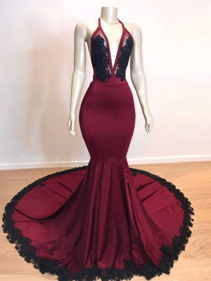 Burgundy V-neck Halter Appliques Long Mermaid Evening Dresses_3
