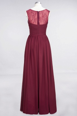 A-Line Scoop Sleeveless Floor-Length   Lace Bridesmaid Dress with Ruffle_2