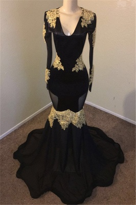 V-neck Long Sleeves Gold Appliques Black Mermaid Long Prom Dress_1
