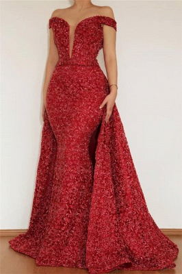 Burgundy Glamorous Mermaid Off The Shoulder Lace Appliques Long Prom Dress With Detachable Skirt_1