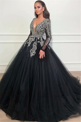 Deep V-Neck Long Sleeves Appliques Overskirt Black Ball Gown Long Prom Dress_1