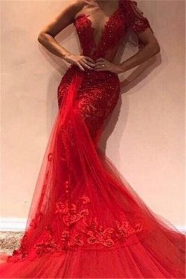 Gorgeous Mermaid One Shoulder  Appliques Long Prom Dress_1