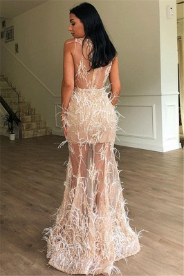 Gorgeous A-Line Sleeveless Sheer  Feather Long Prom Dress_2