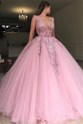 Pink Ball Gowm V-Neck Applique  Sleeveless Long Prom Dersses_1