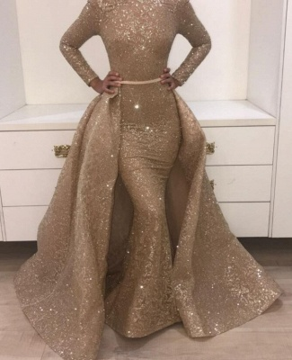 Sequins Prom Dresses with Train | Sparkly Evening Gowns with Belt_1