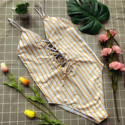 Elegent One piece Bandage Bathing Suits with Stripe_1