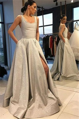 Silver Gorgeous A-line Sleeveless Long Prom Dress_1