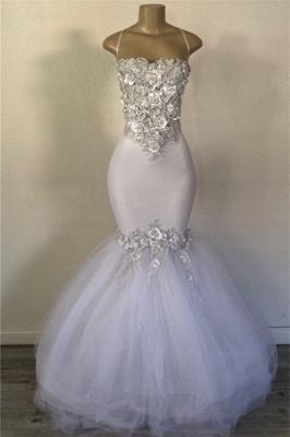 Mermaid Strapless  Applique Elegant Long Prom Dress_1