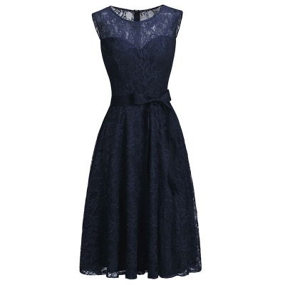 Affordable A-line Sleeveless Burgundy Lace Dresses with Bow_4