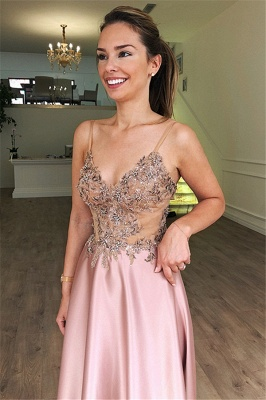 Gorgeous A-Line Spaghetti Straps Sleeveless Beaded Pink Long Prom Dress_2
