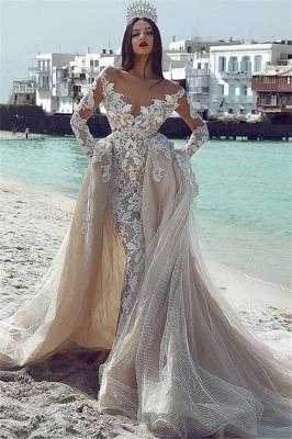 Glamorous V-Neck Long Sleeves  Applique Overskirt Wedding Dress_1
