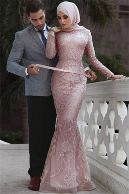 Pink Detachable Long-Sleeves Prom Dresses | Cheap Appliques Lace Mermaid Evening Gowns_1