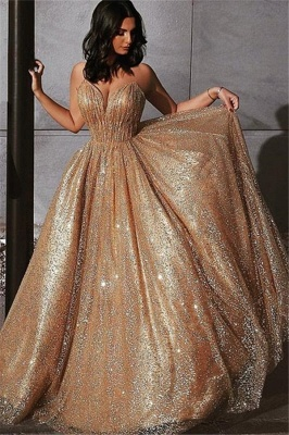 Champagne Elgant A-line Spaghetti Straps Backless Sequins Long Prom Dress_1