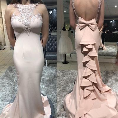 Gorgeous Sheath Sheer Straps Bowknot Ruffles Mermaid Long Prom Dersses_2