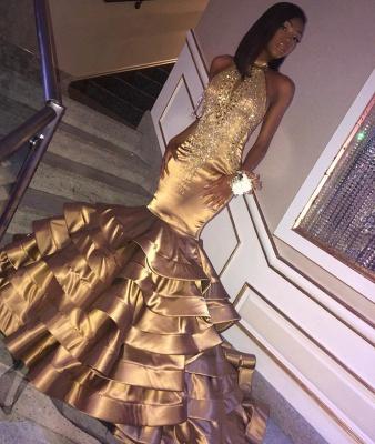 Glamorous Gold Mermaid High Neck Sleeveless Ruffles Crystal Long Prom Dress_2