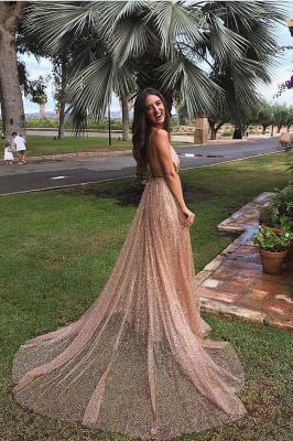 Glamorous Sequins A-Line Long Prom Gowns | 2019 Spaghetti Straps V-Neck Evening Dress_1