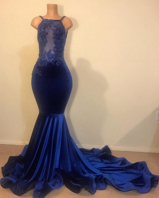 Sexy Mermaid Spahgetti-Straps Openback Velvet Applique Long Prom Dress_1