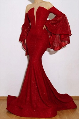 New Arrival Red Mermaid Off The Shoulder Lace Appliques Long Prom Dress_1
