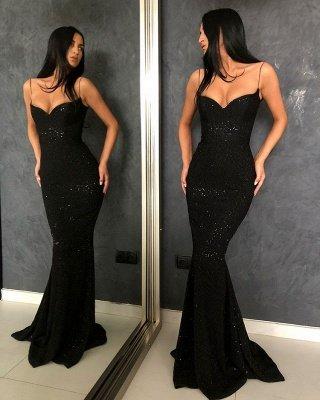 Sheath Spaghetti Straps Open Back Sequins Black Long Prom Dress_3