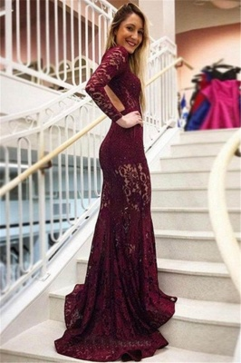 Gorgeous Mermaid High Neck Long Sleeves Lace Long Prom Dress_2