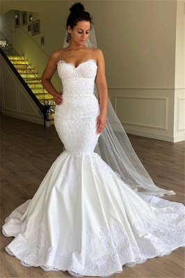 Gorgeous Mermaid Spaghetti Straps Sleeveless Lace Long Wedding Dress