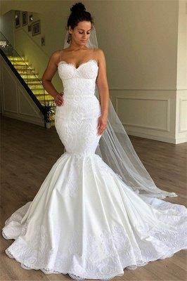 Gorgeous Mermaid Spaghetti Straps Sleeveless Lace Long Wedding Dress