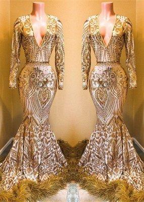 Stunning Sequins Long Sleeves V-neck Mermaid Prom Dresses_2