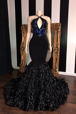 Black Sleeveless Flowers Mermaid Prom Dresses | Elegant Halter Sequins Appliques Evening Gowns_1
