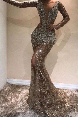 Glamorous Mermaid Long Sleeves Open Back Sequins Long Prom Dress_1