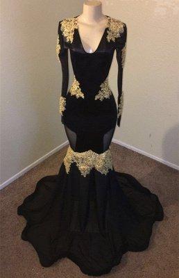 V-neck Long Sleeves Gold Appliques Black Mermaid Long Prom Dress_2