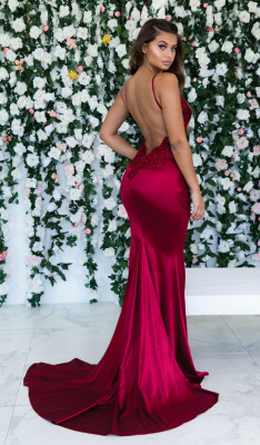 Burgundy Sleeveless Mermaid Backless Prom Dresses | Cheap Spaghetti-Straps Lace Appliques Evening Gowns_3