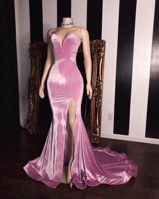 Pink Velvet Sweetheart Prom Dresses | Elegant Side Slit Mermaid Long Evening Gowns_2