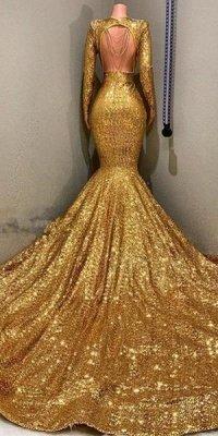 Gorgeous Mermaid Sequins Long Sleeves Floor Length Prom Dresses_3