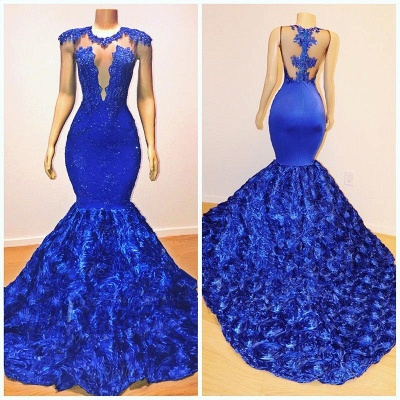 2019 Royal-Blue Flowers Mermaid Long Evening Gowns | Glamorous Sleeveless With lace Appliques Prom Dresses_5