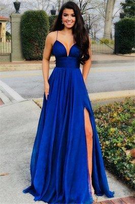 Elegant A-Line Spaghetti Straps Sleeveless Side Slit Long Prom Dress_1