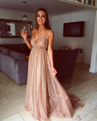 Glamorous Sequins A-Line Long Prom Gowns | 2019 Spaghetti Straps V-Neck Evening Dress_2