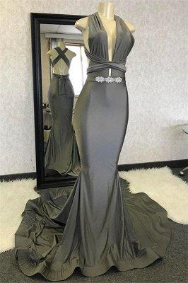 Sexy Mermaid Halter Sleeveless Crystal Criss Cross Long Prom Dress_1