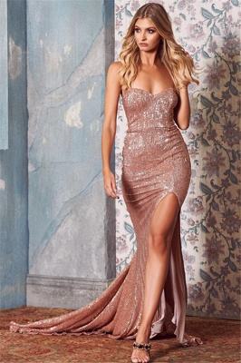 Sexy Sequins Side-Slit Long Prom Dresses | 2019 Sweetheart Mermaid Evening Dresses_1