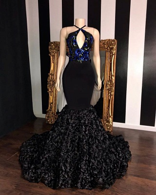 Black Sleeveless Flowers Mermaid Prom Dresses | Elegant Halter Sequins Appliques Evening Gowns_2