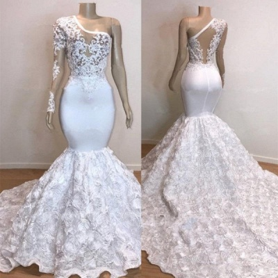 One Shoulder Lace Appliques Meramid Prom Dresses with sleeve_5