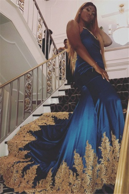 Sexy Royal Blue Appliques Open-Back Evening Gowns   2019 Spaghetti-Straps Sleeveless Mermaid Prom Dresses_1