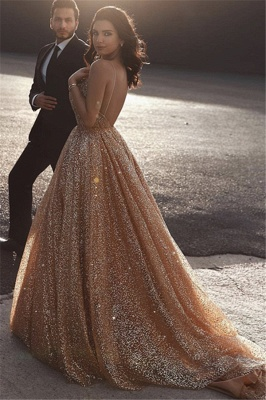 Champagne Elgant A-line Spaghetti Straps Backless Sequins Long Prom Dress_2
