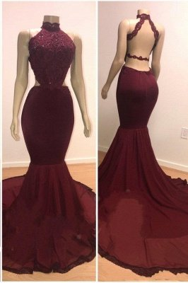 Lace Top High Neck Mermaid Long Burgundy Prom Dresses_1